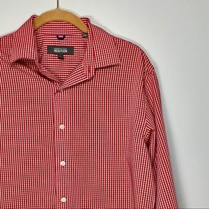 Kenneth Cole Reaction Red Checkered Dress Shirt